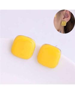 Solid Color Elegant Square Design High Fashion Women Ear Studs - Yellow