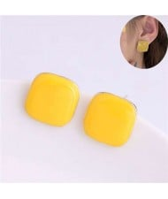 Solid Color Elegant Square Design High Fashion Women Ear Studs - Yellow