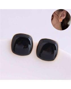 Solid Color Elegant Square Design High Fashion Women Ear Studs - Black