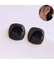 Solid Color Elegant Square Design High Fashion Women Ear Studs - Black
