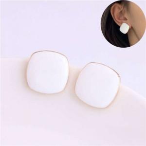 Solid Color Elegant Square Design High Fashion Women Ear Studs - White
