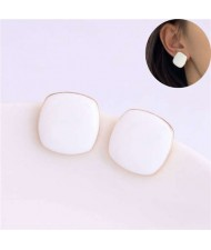 Solid Color Elegant Square Design High Fashion Women Ear Studs - White