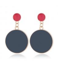 Enamel Round Shape Bold Fashion Women Alloy Earrings - Black