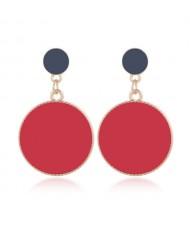 Enamel Round Shape Bold Fashion Women Alloy Earrings - Red