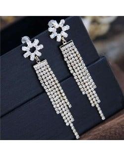 Shining Tassel Cubic Zirconia Flower Design Korean Fashion Copper Women Earrings - Golden