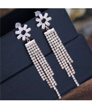 Shining Tassel Cubic Zirconia Flower Design Korean Fashion Copper Women Earrings - Rose Gold