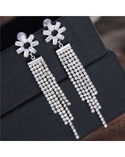 Shining Tassel Cubic Zirconia Flower Design Korean Fashion Copper Women Earrings - Silver