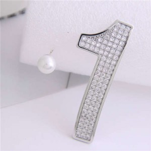 Cubic Zirconia Embellished One and Pearl Asymmetric Design High Fashion Women Earrings - Silver