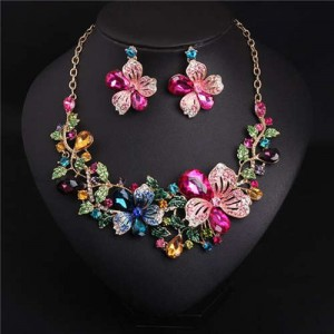 Colorful Rhinestone Bridal Fashion Bib Costume Necklace and Earrings Set