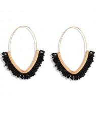 Summer Seashore Fashion Bohemian Style Mini Beads Hoop Earrings - Black