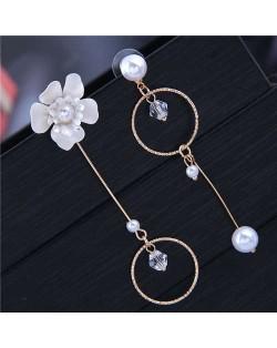 Pearl and Flower Asymmetric Design Dangling Fashion Women Costume Earrings