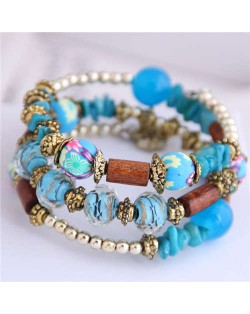 Floral Beads and Seashell Mixed Elements Bohemian Fashion Women Bracelet - Blue