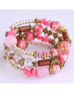 Floral Beads and Seashell Mixed Elements Bohemian Fashion Women Bracelet - Pink
