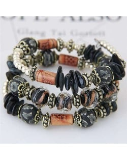 Floral Beads and Seashell Mixed Elements Bohemian Fashion Women Bracelet - Black