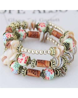 Floral Beads and Seashell Mixed Elements Bohemian Fashion Women Bracelet - White