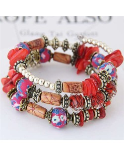 Floral Beads and Seashell Mixed Elements Bohemian Fashion Women Bracelet - Red