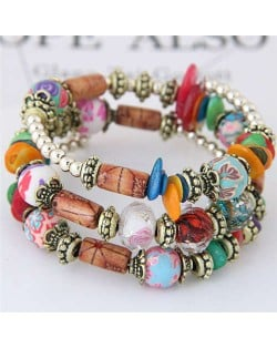 Floral Beads and Seashell Mixed Elements Bohemian Fashion Women Bracelet - Multicolor