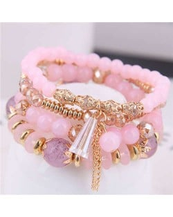 Tassel Decorated Crystal Beads Multi-layer High Fashion Women Bracelets - Pink