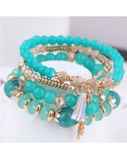 Tassel Decorated Crystal Beads Multi-layer High Fashion Women Bracelets - Green