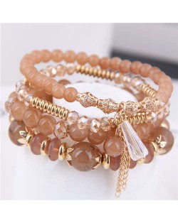 Tassel Decorated Crystal Beads Multi-layer High Fashion Women Bracelets - Brown