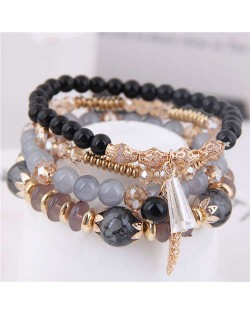 Tassel Decorated Crystal Beads Multi-layer High Fashion Women Bracelets - Black and Gray