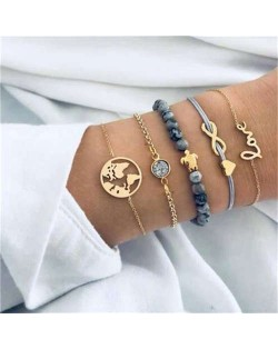Mixed Elements Love High Fashion Women Bracelets Combo