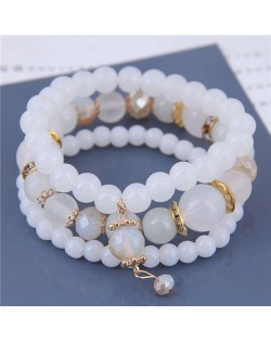 Acrylic Beads Triple Layers Graceful Fashion Women Bracelets - White