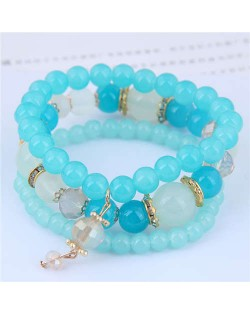 Acrylic Beads Triple Layers Graceful Fashion Women Bracelets - Teal