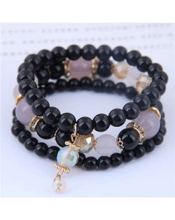 Acrylic Beads Triple Layers Graceful Fashion Women Bracelets - Black