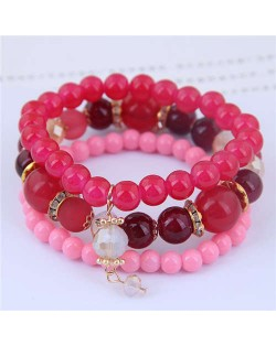 Acrylic Beads Triple Layers Graceful Fashion Women Bracelets - Pink