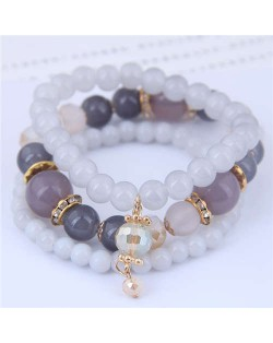 Acrylic Beads Triple Layers Graceful Fashion Women Bracelets - Gray