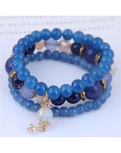 Acrylic Beads Triple Layers Graceful Fashion Women Bracelets - Blue