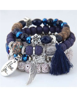 Alloy Wing and Cotton Threads Tassel Love Fashion Four Layers Women Beads Costume Bracelets - Blue