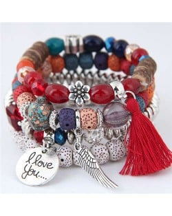 Alloy Wing and Cotton Threads Tassel Love Fashion Four Layers Women Beads Costume Bracelets - Red
