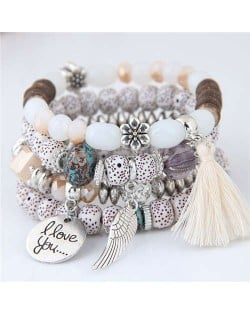 Alloy Wing and Cotton Threads Tassel Love Fashion Four Layers Women Beads Costume Bracelets - White