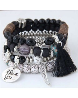 Alloy Wing and Cotton Threads Tassel Love Fashion Four Layers Women Beads Costume Bracelets - Black