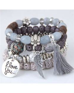 Alloy Wing and Cotton Threads Tassel Love Fashion Four Layers Women Beads Costume Bracelets - Gray