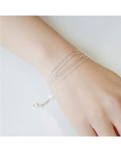 Slim Style Five Layers White Copper Korean Fashion Women Bracelet