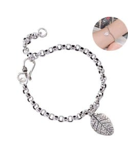 Vintage Leaf Pendant Chain Fashion White Copper Women Bracelet