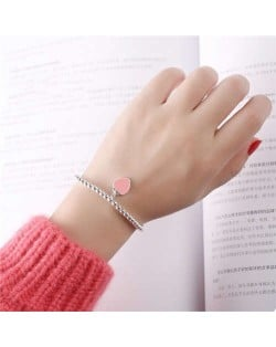 Vintage Peach Heart Pendant Korean Fashion Beads Style Women White Copper Bracelet - Pink