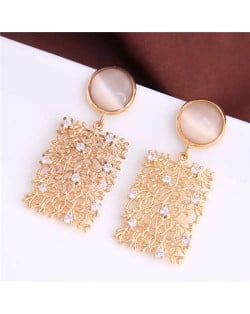 Opal Embellished Dangling Leaves and Floral Oblong Shape Design Women Fashion Alloy Earrings