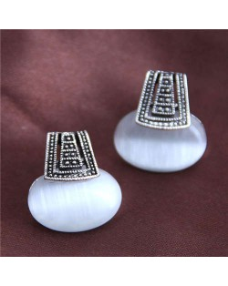 Opal Inlaid Vintage Folk Design High Fashion Women Alloy Earrings