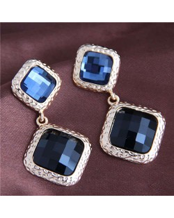 Glass Gem Embellished Vintage Baroque Genre Square Shape Women Alloy Fashion Earrings