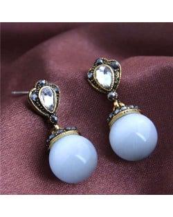 Rhinestone Embellished Opal Fashion Women Costume Earrings - Golden