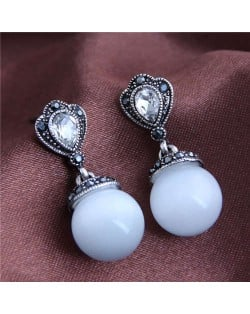 Rhinestone Embellished Opal Fashion Women Costume Earrings - Silver