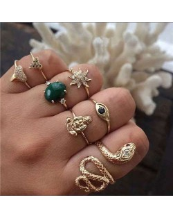 Snake and Buddha Assorted Fashion Elements 7 pcs Golden Rings Combo
