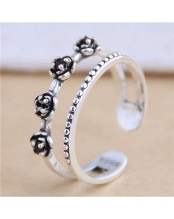 Vintage Flowers Attached Open-end Design Hollow Fashion Women Ring
