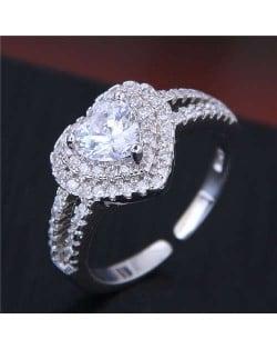 Cubic Zirconia Graceful Heart Design Bridal Fashion Adjustable Size Women Ring