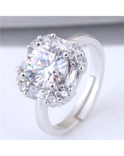 Sweet Square Shape Cubic Zirconia Wedding Fashion Adjustable Size Women Ring