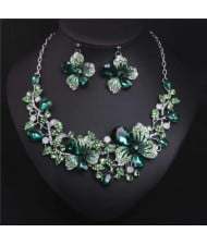 Crystal Graceful Flowers Bridal Fashion Bib Necklace and Earrings Set - Green